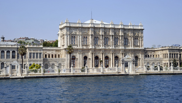 Dolmabache Palace as seen from the Bosphorus on a Bosphorus tour