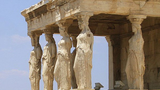 The caryatids of the Erechtheion on the Acropolis, Athens