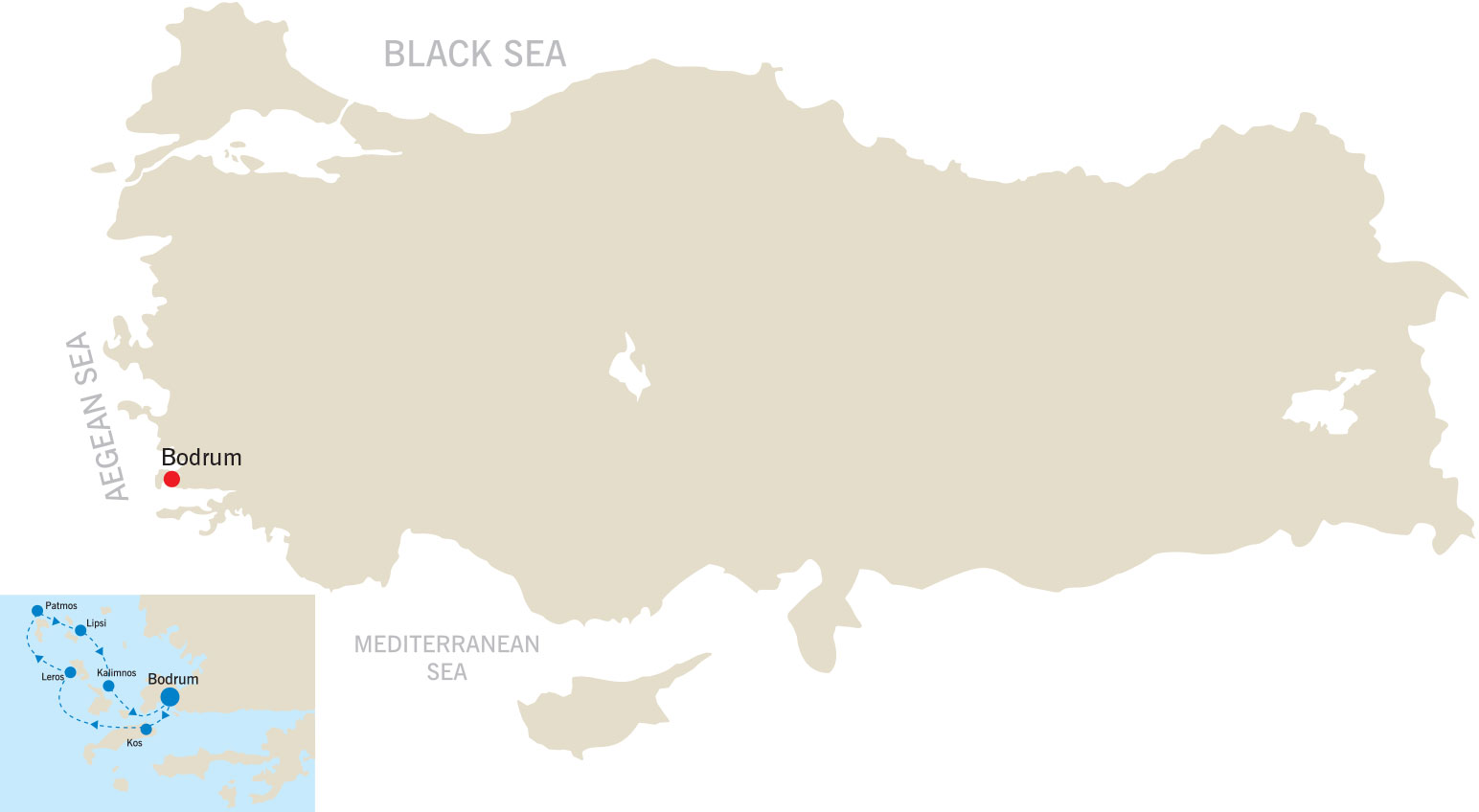 Bodrum, North Dodecanese, Bodrum map