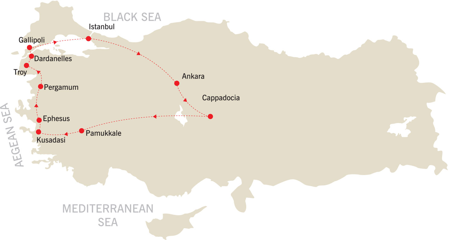 Fire of Anatolia Tour map