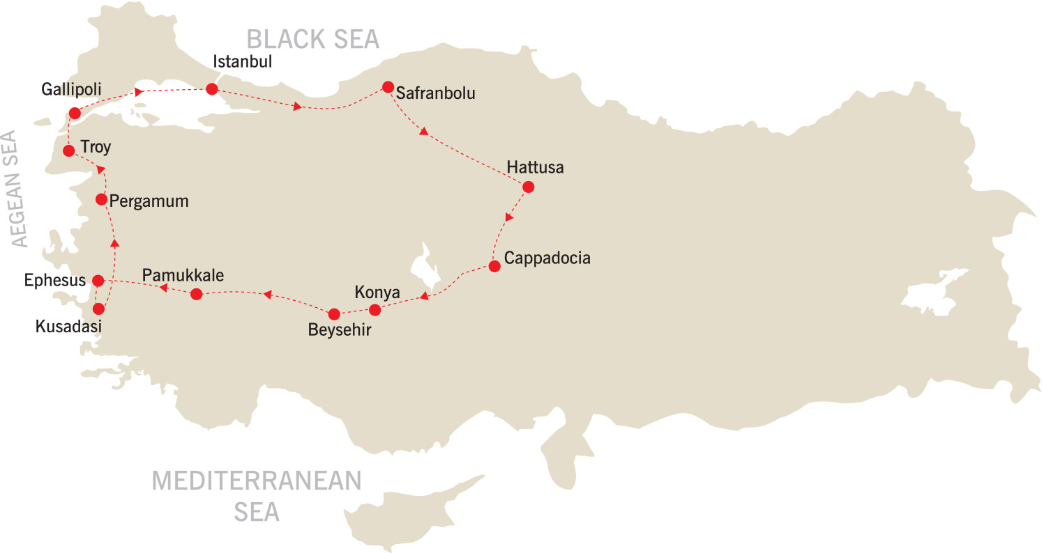 Spirit of Turkey Tour map