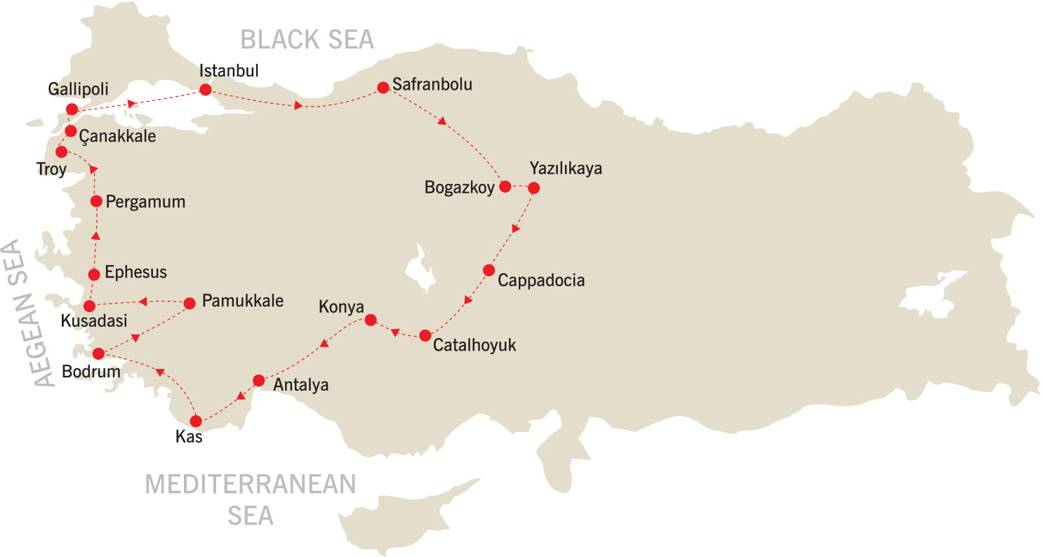 Unesco Turkey Tour map