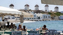 Relaxing at a cafe in Mykonos