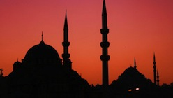 Istanbul night skyline with Mosques.