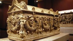 Sarcophagi in Aspendos museum, Turkey