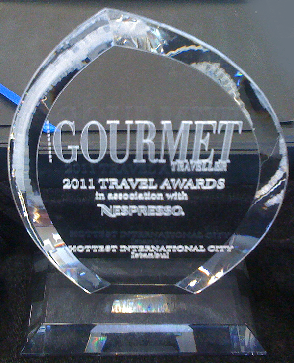 istanbul, turkey, 2011, travel, award, trophy, gourmet traveller